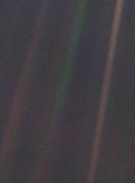 Earth. A pale blue dot in the vastness of space.